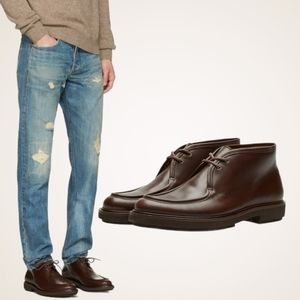 A.P.C. Etienne Desert Ankle Leather Lace Up Boots